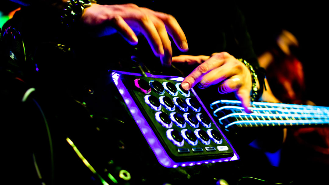 Biomechanimal fierce tricked-out synth guitar with glow lights